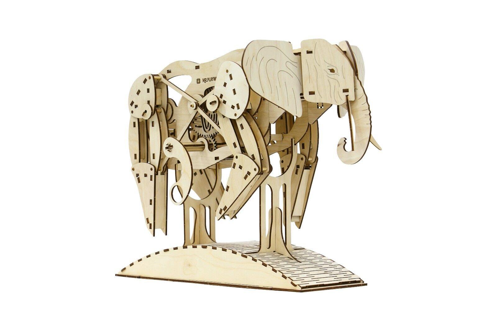 Elefante Africano-mrplaywood - 3D meccanico in legno modello & Puzzle