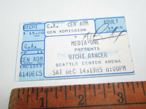 KNIGHT-RANGER-1985-SEATTLE-Signed-Vintage-Concert-Ticket-Stub-VERY-RARE
