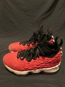 cfadbd30cb2 Nike LeBron 15 Athletic Basketball Black White Bright Crimson AQ6176 ...