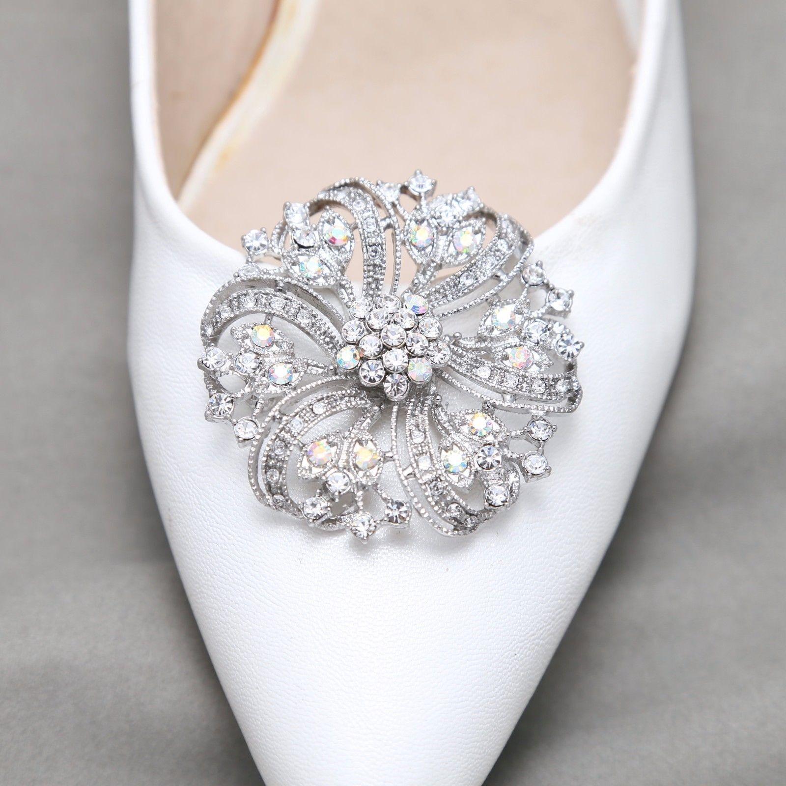 2 Pcs Round Aurora Rainbow Crystal Wedding Shoe Clips Bridal Shoes Decoration