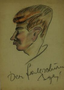 Expressionist-head-in-side-profile-known-Portrait-ART-DECO-THIRTIES