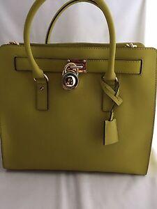 7751aebfe5e5dd 🎗NWT MICHAEL KORS Hamilton Leather Large Tote Green Apple Saffiano ...