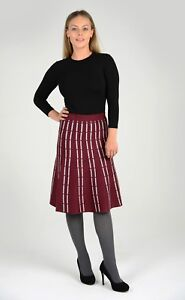 Womens-Knit-A-line-Skirt-Flared-Knee-Length-Formal-Casual-Striped-Design-NEW