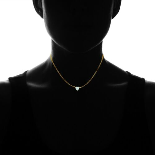 Dainty Simulated Opal Small Heart Choker Necklace in Gold Plated Sterling Silver