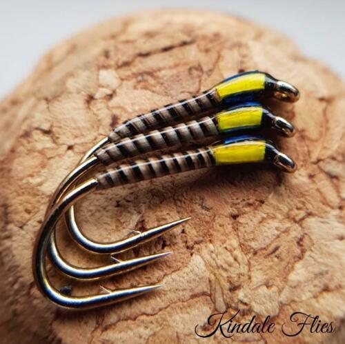 Sunburst//Holo Blue Quill Buzzers Taille 14 Ensemble de 3 Pêche à La Mouche Droit Crochet