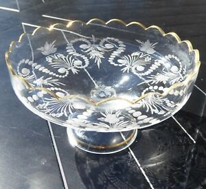 Antique-Glass-Compote-Fruit-Bowl-Pedestal-Pressed-Gold-Rim-Scalloped-Edge