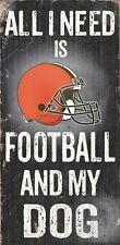 "CLEVELAND BROWNS FOOTBALL & my DOG WOOD SIGN and ROPE 12"" X 6""  NFL MAN CAVE!"
