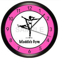Fitness Wall Clock Dance Aerobics Personalize Customize Pink Gym Studio Decor
