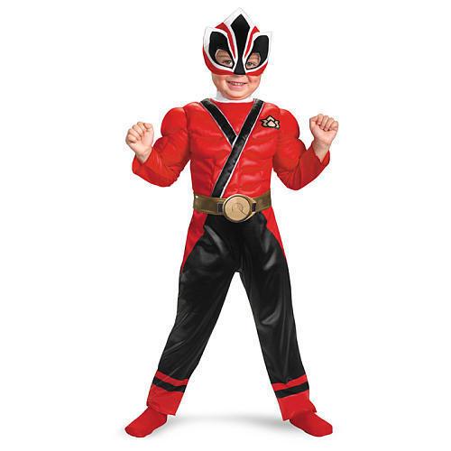 Kostüm~USA~80-86-92~Power Rangers Muskeln~Fasching~Karneval~Maske~Samurai~rot