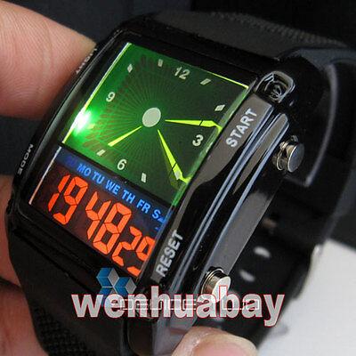 Green Light Flash LED Watch Black Rubber Digital Box Sport Mens Boys Gift D0501