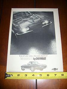 1966 CHEVROLET CORVETTE - ORIGINAL AD LITERATURE