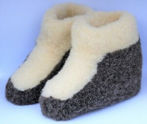Size 8.5 GREY CALF TALL WOMENS WOOL BOOTS WARM WHITE SLIPPERS SHEEP COZY 41 EU