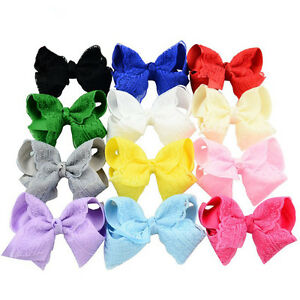 5X-New-4-Inch-Baby-Girls-Lace-Hair-Bows-Kids-Ribbon-Bowknot-Headwear-With-Clip