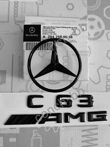 MERCEDES-CLASSE-C-W204-08-14-POSTERIORE-BOOT-Star-C63-AMG-Badge-Emblema-Set-Gloss-Nero