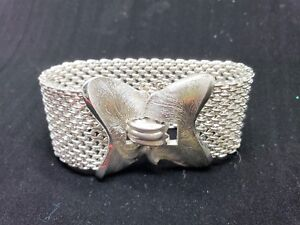 Crown-Trifari-Wide-Chain-Mesh-Silver-Tone-Bracelet-Vintage-Signed