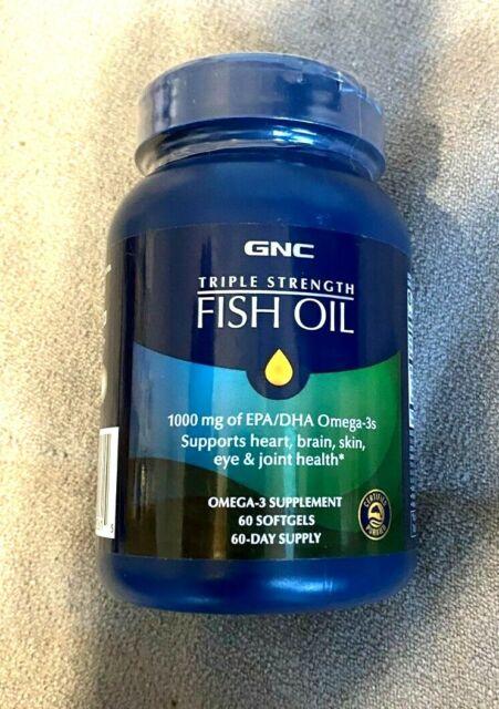 GNC Triple Strength Fish Oil 60 Softgels / 60-Days - 1000mg Omega-3s * Ex: 9/22