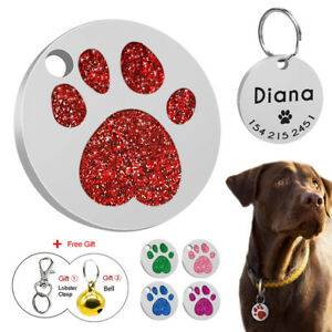 2c250599b9bc LASER Glitter Paw Pet ID Tag Round Custom Engraved Dog Tag Cat Tag ...