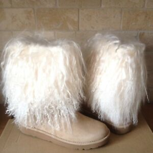 9ee53f684cd Details about UGG Lida Mongolian Sheepskin Cuff Natural Suede Classic Boots  Size US 5 Womens