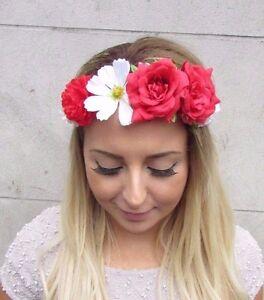 Red White Cream Daisy Rose Flower Garland Headband Hair Crown