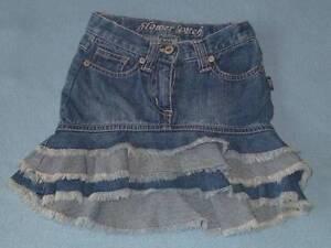 Pumpkin-Patch-039-Flower-Patch-039-Girls-Asymmetrical-Hem-3-Tier-Denim-Skirt-Size-1