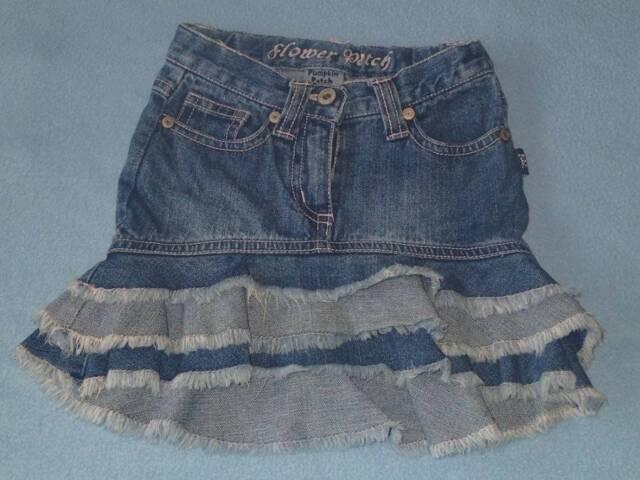 Pumpkin Patch 'Flower Patch' Girls Asymmetrical Hem 3 Tier Denim Skirt, Size 1