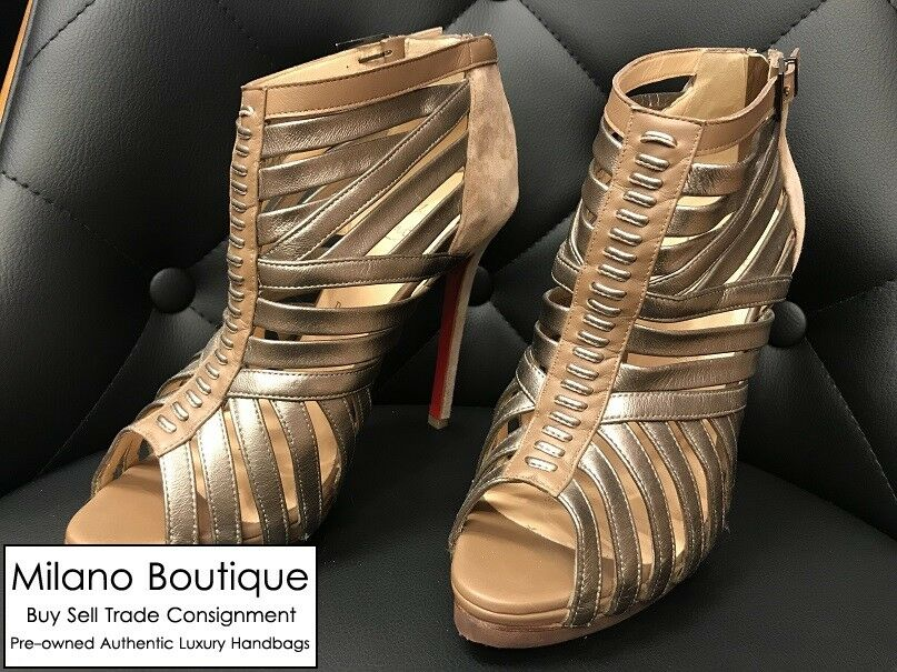 Authentic BRAND NEW Christian Louboutin Bronze Suede Strappy Heel Size 7.5