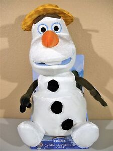 Disney Frozen Plush Stuffed Olaf Wearing Hat Cane Snowman 14 Not