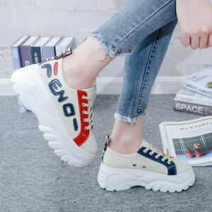 Women-039-s-Casual-Athletic-Walking-Running-Flat-Platform-Shoes-Fashion-Sneakers