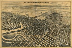 A4 Reprint of American Cities Towns States Map Stockton California ...