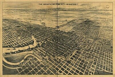 A4 Reprint of American Cities Towns States Map Stockton ...