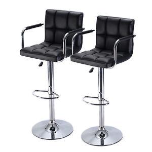 Set Of 2 Bar Stool Pu Leather Barstools Chair Adjustable