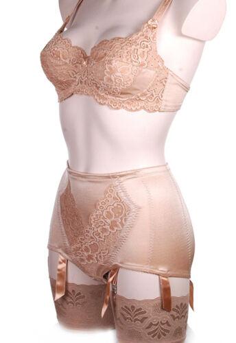 Power mesh panty gaine jarretelles 6 bretelles designer rétro-rouge noir ivoire or