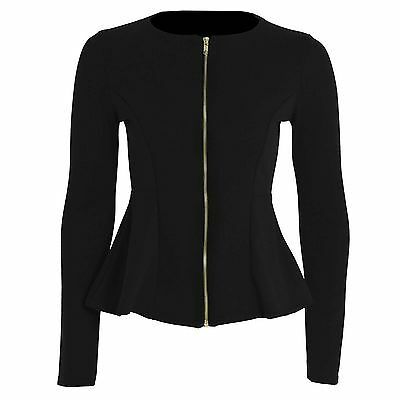 Womens Ladies Zip Peplum Ruffle Plus Size Tailored Blazer Jacket Top Size 8-26.