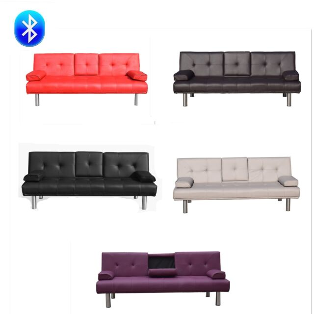 Enjoyable 3 Seater Leather Sofa Bed With Bluetooth Speaker With Cup Holder Squirreltailoven Fun Painted Chair Ideas Images Squirreltailovenorg