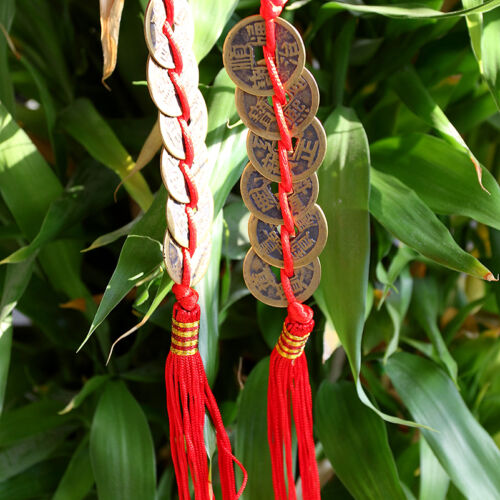 FENG SHUI FORTUNE Coin Red Hanging Cure NEW Wealth Good Luck Prosperity Pip