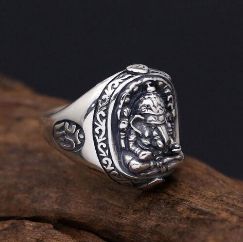 I07 Ring Elefant Elefantengott Ganesha OM-Symbol Silber 925