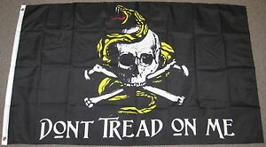3X5-DON-039-T-TREAD-ON-ME-PIRATE-FLAG-SKULL-COILED-SNAKE-CROSS-BONES-NEW-F105
