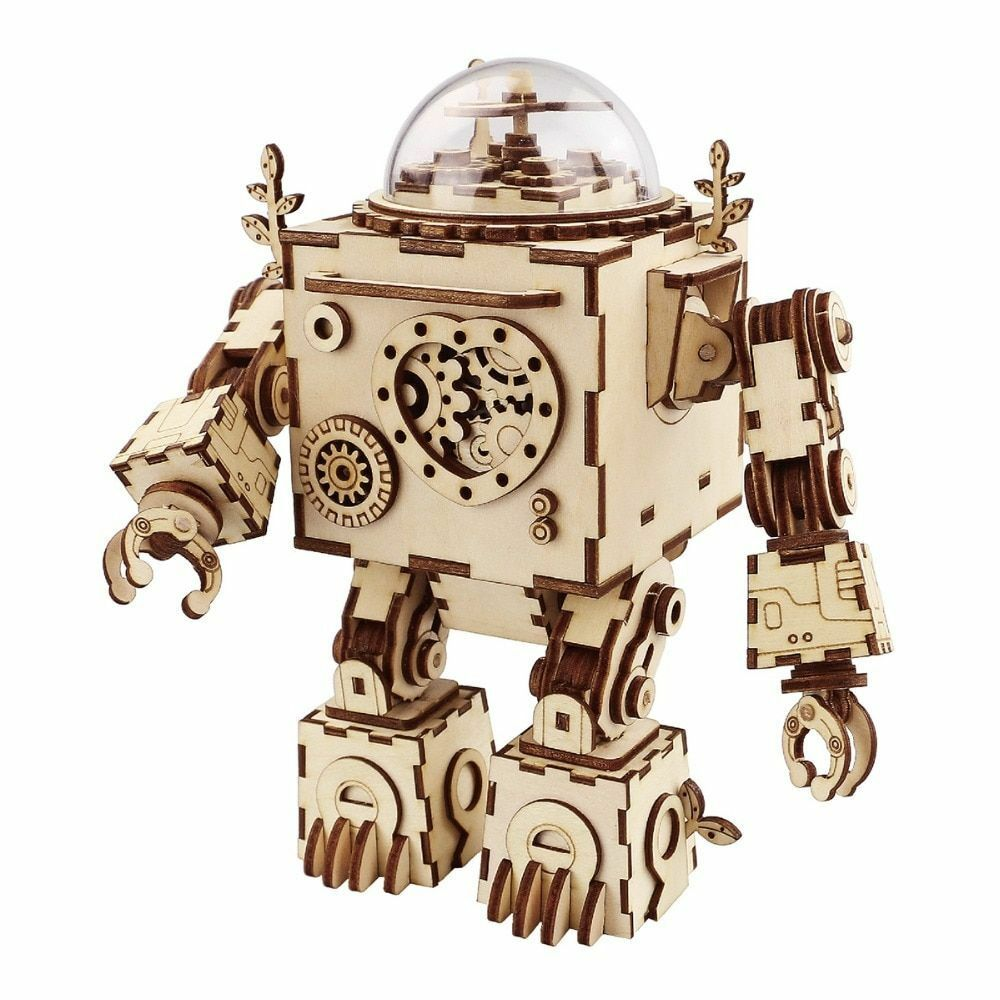 Robot Wooden Puzzle Game Music Box 3D DIY Model Building Kit Creative Steampunk