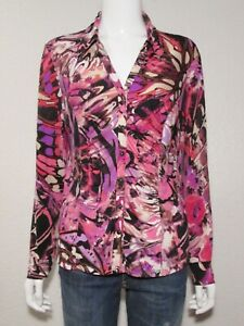 CACHE-L-Ruched-Snap-Front-Stretch-Jersey-Blouse-Pink-Purple-Cream-Multi-Print