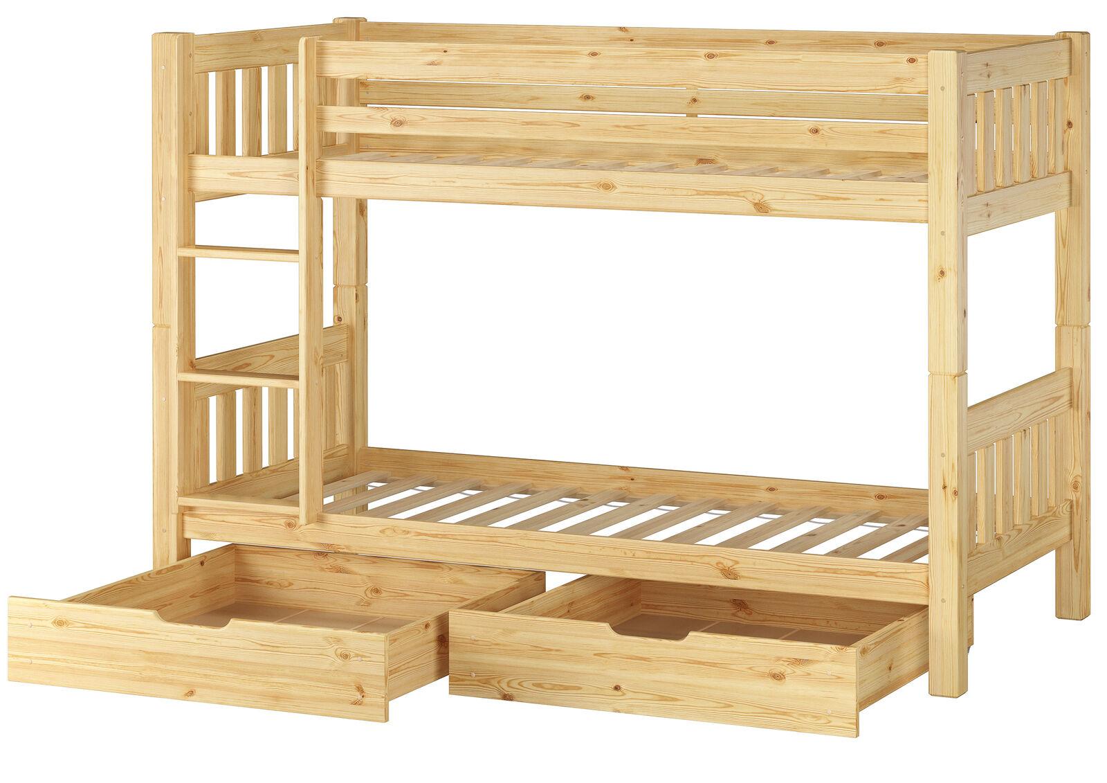 Superposé lit pin bois massif 90x200cm lits + bettkasten 60.06-09s2