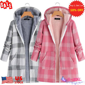20e47986abf Plus Size Womens Check Fleece Hoodie Coats Winter Thicken Jackets ...