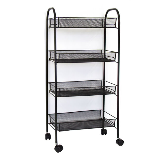 4-Tier Basket Stand Kitchen Bathroom Trolley Rolling Storage Utility Cart  Black