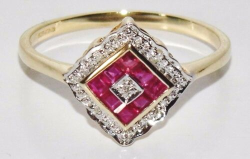9ct Yellow Gold Ruby /& Diamond Art Deco Design Cluster Ring size P