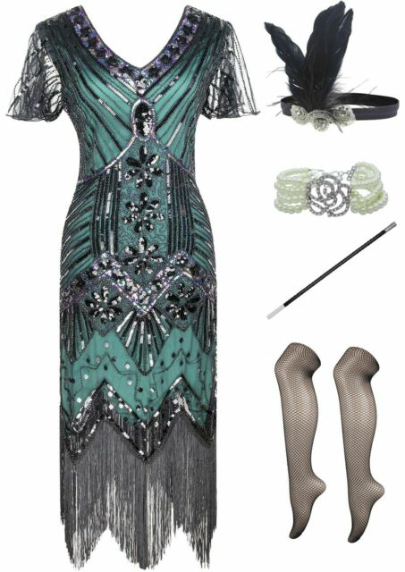 FUNDAISY 1920s Gatsby Sequin Fringed Paisley Flapper Dress with 20s Accessories Set