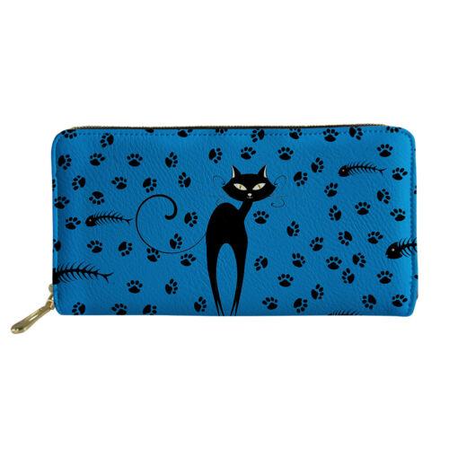 Cat Cow Women Long Purse Money Bag Credit Card Holder Cell Phone Cash PU Wallet