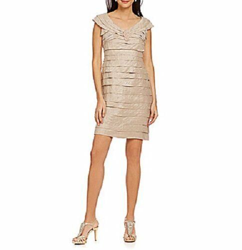 London Times Dress Sz 16 Sand Dollar Beige Tierot Cocktail Evening Party Dress