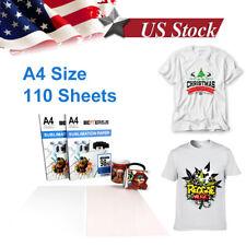 110pcs A4 Sublimation Iron On Heat Transfer Paper For Diy T Shirt Printer Mug Us