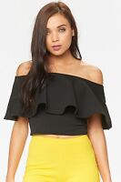 Celeb Style Floral Bardot Layered Off the Shoulder Front and Back Frill Crop Top