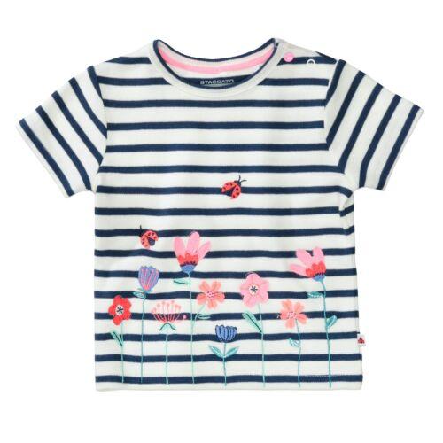 Staccato T-Shirt mit Blumen-Stickerei Offwhite Streifen