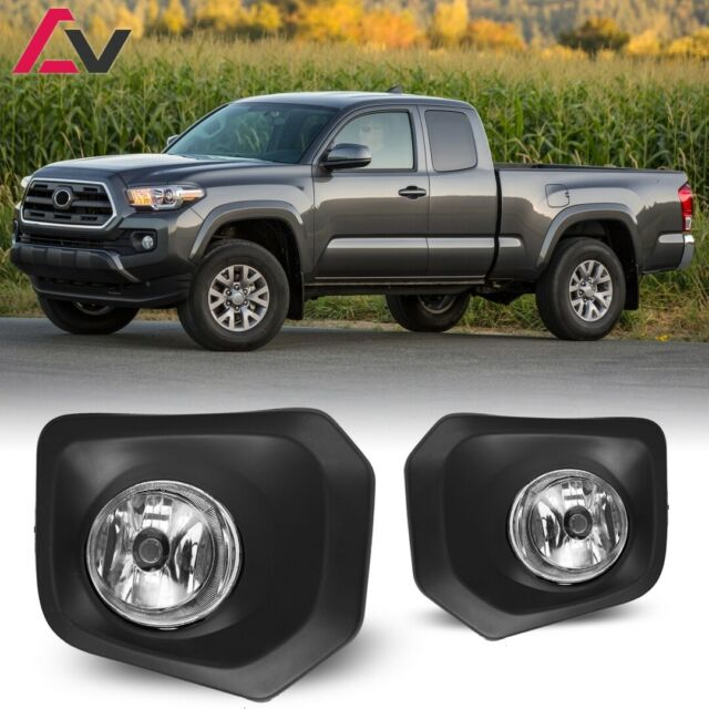 Fits 16-19 Toyota Tacoma Clear Lens Fog Light Lamps Front Bumper Assembly Pair